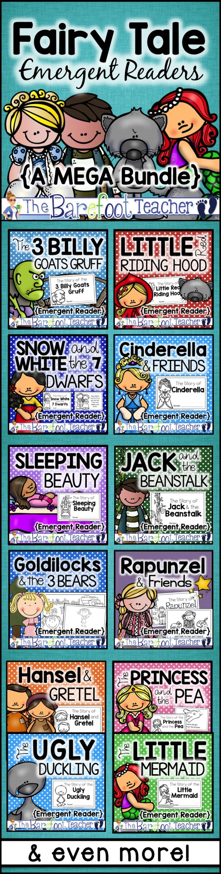These Fairy Tale Emergent Readers take a complex story and simplify it for your Kindergarten or First Grade students to read! Each of the 16 books includes easy to read text and tell the story in simple, easy to understand sentences. Favorites included such as: Little Red Riding Hood, Snow White, Jack & the Beanstalk, Cinderella, 3 Billy Goats Gruff, The Little Mermaid, The Ugly Duckling, Goldilocks & the 3 Bears, Rapunzel, & more!