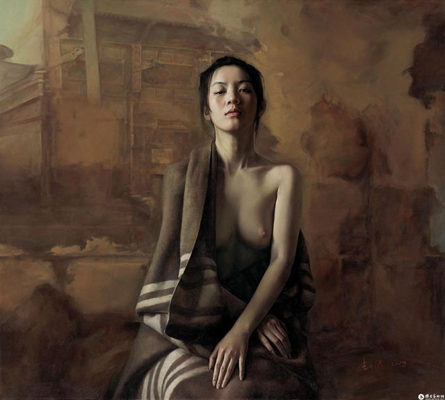 Chinese painter Li Wentao has a peculiar vibe; these portraits are stunning and quiet, moving and eerie. We came across the work months ago and compiled some images over time, and wanted to share a few today. Some appear as straight-forward, nearly photoreal portraits, and others fall into classic nude portraits with a thin layer of dream-like effect.