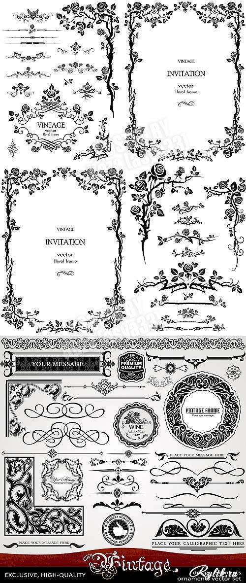 Роскошные декоративные элементы - уголки, рамки, вензеля, бордюры, цветочные узоры