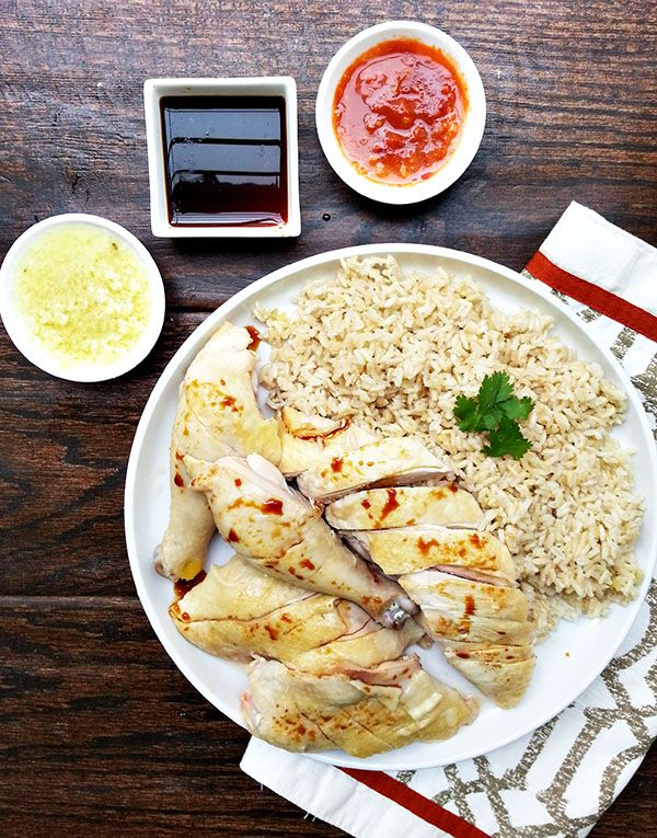Hainan Chicken A Singaporean Dish Consisting Of Flavorful Chicken And Rice Accompanied With A Ginger