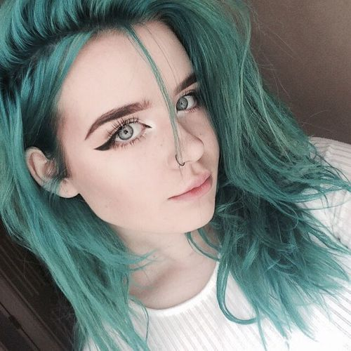 Blue Teal Hair Green Pastel Bright Colour Color Coloured Colored Curls Curl Curly
