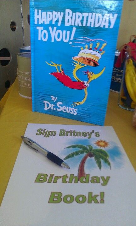 As a keepsake - have guests sign a copy of Dr. Seuss' Happy Birthday to You book. I do it on the child's first birthday.