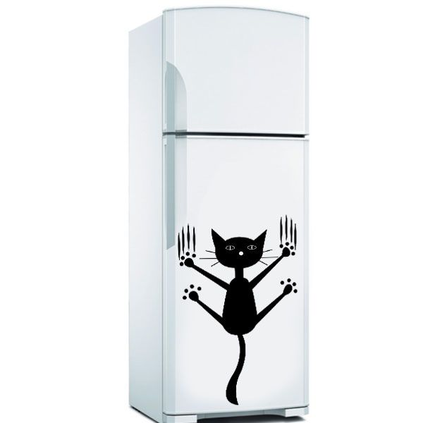 Adesivo de Geladeira Gato, adesivo de gatinho, adesivo gatinho pendurado, adesivo para geladeira