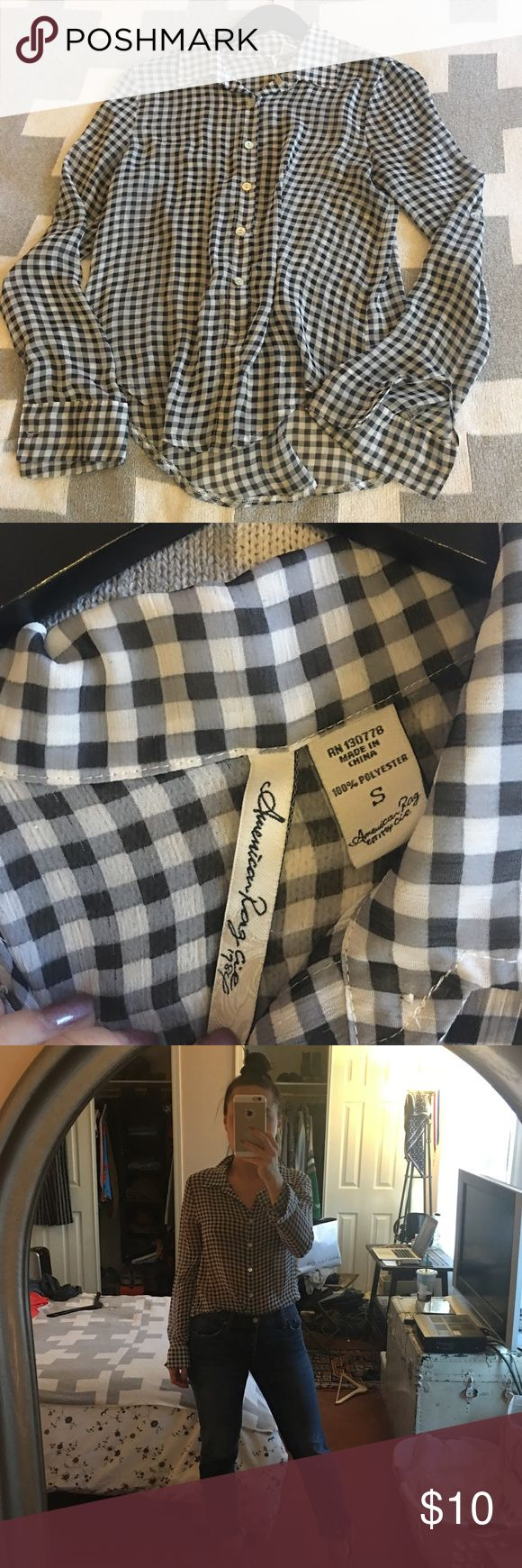 Checkered Sheer Blouse Size Small Priced to sell, Levis 501 for sale too Tops Blouses