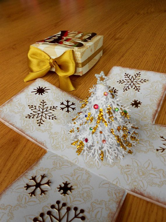 White Christmas - Exploding box card - paper quilled christmas tree - white and gold