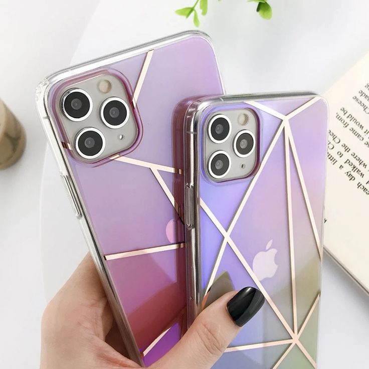 Geometric cleartransparent gradient phone casecover for