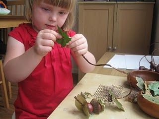 Through threading with natural materials, children's focus and thinking ability as well as their sight ability by putting the thread very carefully on the materials and choosing them. Their fine motor will also be improved through threading with their fingers.