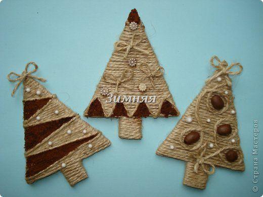 Copaci produs Meșteșug Anul Nou Crăciun -magnity carton cafea material natural Sfoară Fotografie 2