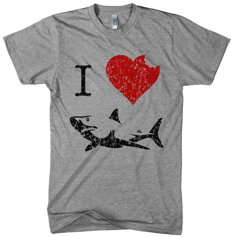 I Love Sharks t shirt funny shark bite shirt by CrazyDogTshirts, $18.99