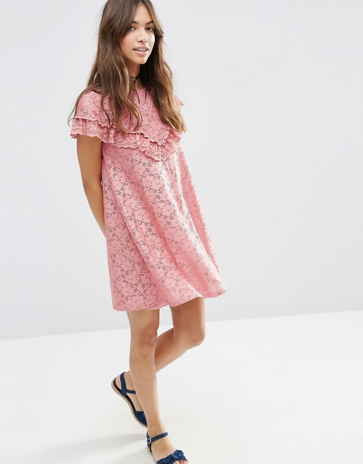 Image 4 ofASOS Lace Swing Dress with Ruffle Yoke