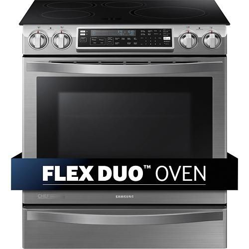 """Samsung - Flex Duo Chef Collection 30"""" Self-Cleaning Slide-In Double Oven Electric Convection Induction Range - Stainless-Steel - Alternate View 9"""