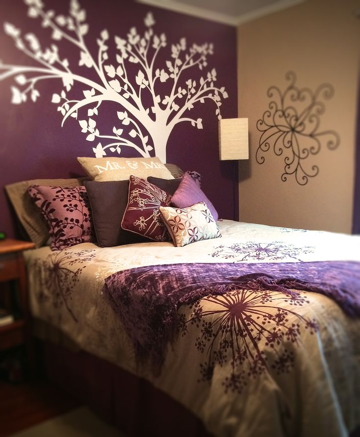 Realized the dream of a purple accent wall. Bedroom design comes together with a tree wall decal from Popdecors on Amazon.