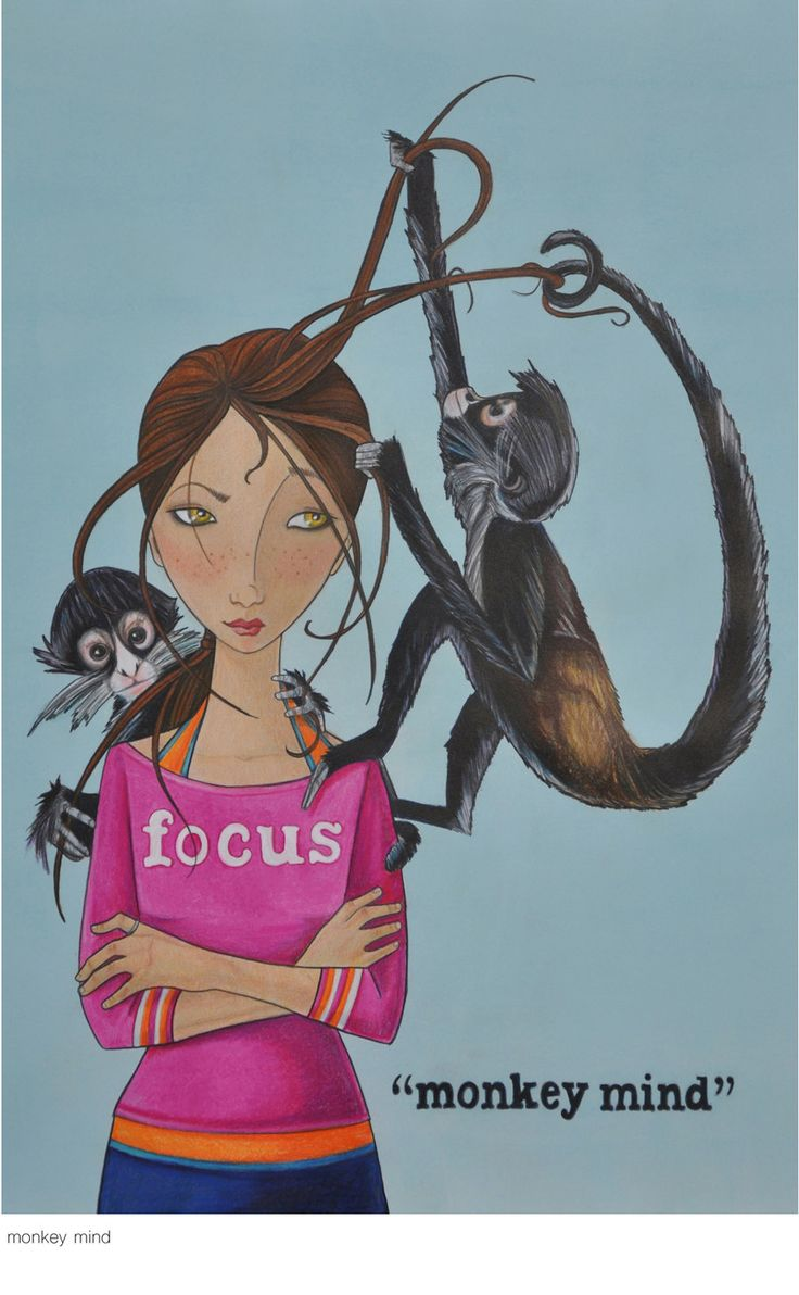 """Monkey Mind is is a Buddhist term meaning """"unsettled; restless; capricious; whimsical; fanciful; inconstant; confused; indecisive; uncontrollable"""" (Artwork: """"Monkey Mind"""" by MaryPohlmann on Etsy)"""