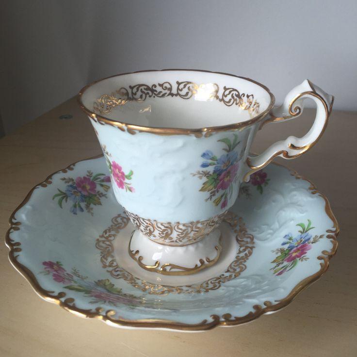 chrome hearts cap singapore E B Foley Vintage Teacup and Saucer  Light Pastel Blue Pink Flower Gold Overlay