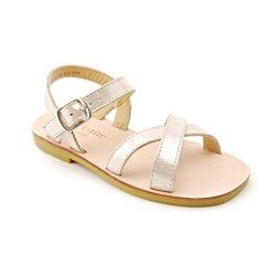Champagne Leather Girls Shoes