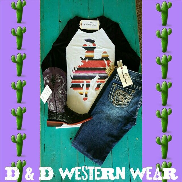 Serape Bronc Tee ~ Sizes Available: 1-S, 1-M ~ $36.00 plus tax and shipping • Cowgirl Up Jeans ~ $40.00 plus tax and shipping • Print Hornback Caiman Boots ~ Size: 6B ~ $127.50 plus tax and shipping • Each items sold separately • All items instock!!