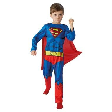 Superman DC Comics kostuum - maat 92/116  Ga verkleed als Superman naar carnaval of een verkleedfeestje. Dit blauwe pak is bedrukt met het Superman logo en wordt geleverd met rode cape.  EUR 29.99  Meer informatie