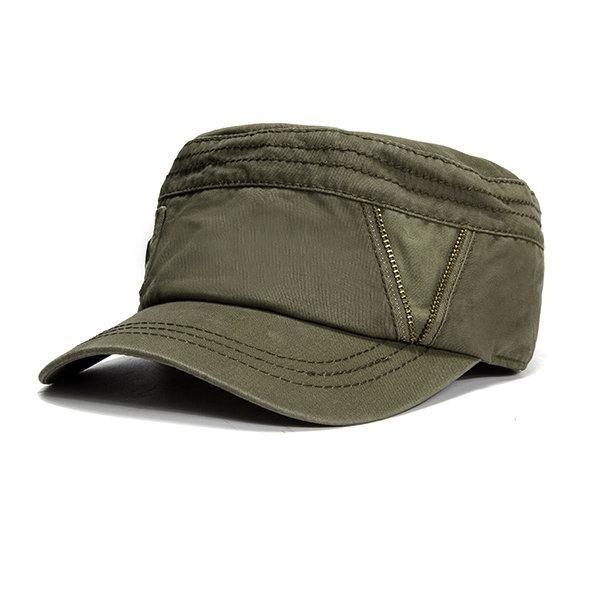 da3df365f1d0e Men Vintage Zipper Cotton Military Cap Outdoor Casual Breathable Flat Top  Hat  MilitaryHatsForWomen