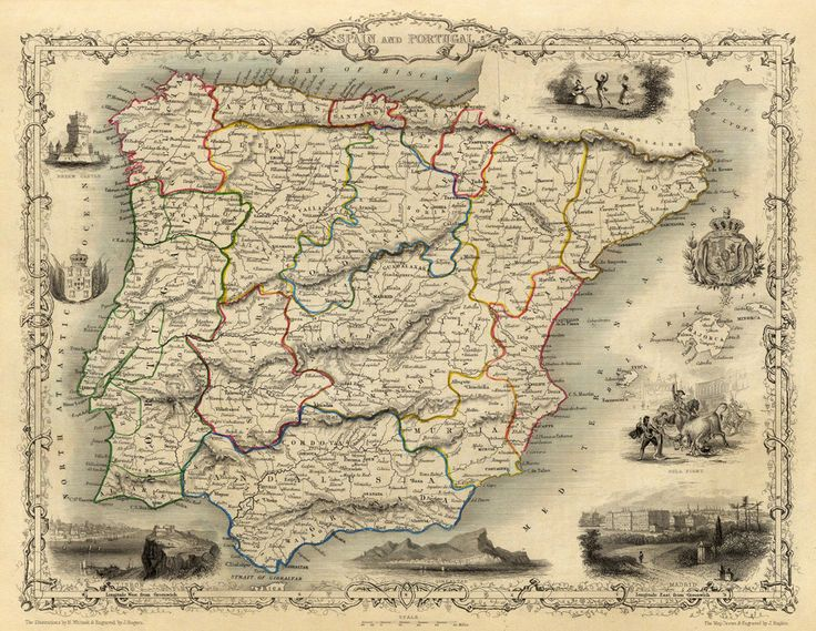 21 best mapas histricos images on pinterest old maps antique old map of spain old map of portugal vintage map archival reproduction sciox Gallery