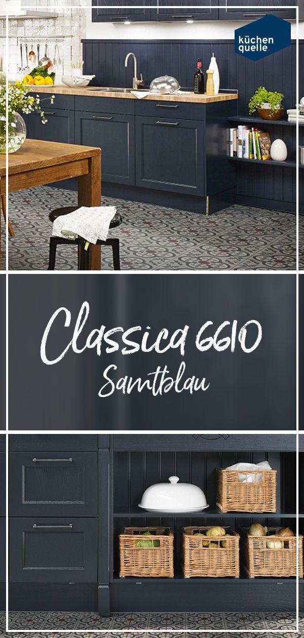 Die Landhauskuche Classica 6610 In Samtblau Nostalgischer Charme In Perfektion Landhauskuche Einbaukuche Kuche Dekoration