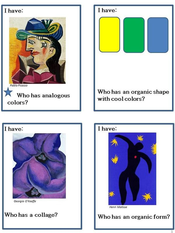 ART LINKS GAME Level 1:  Recognize elements and art terms, collaborative game. Level 2 coming soon...