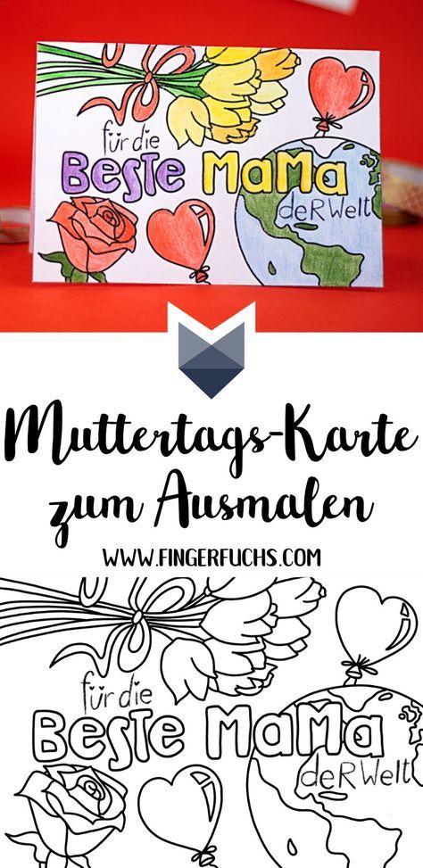 Karte Zum Ausmalen Zum Muttertag Einfach Basteln Basteln Pinterest