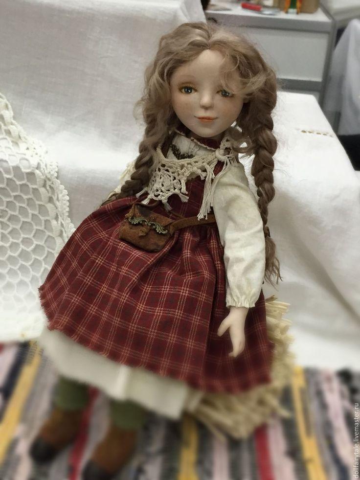 Купить Дана - бордовый, шебби-шик, японский хлопок, сельский стиль, девочка, косички, веснушки