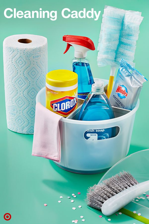 Keeping your dorm room clean is so much easier when all the cleaning supplies are in one place. Create a Cleaning Caddy that holds everything from Clorox wipes, a Swiffer duster, microfiber towels, dust pan and paper towels.