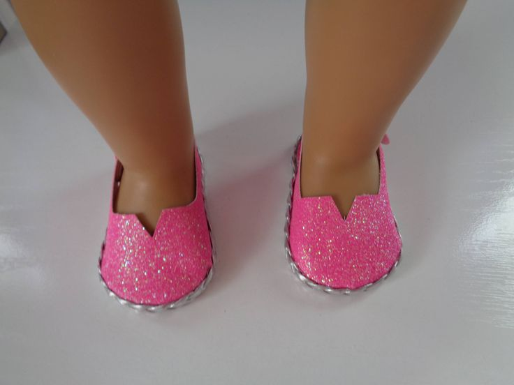 """Pink Sparkle Princess 18"""" Doll Sandals-Shown on my american girl doll by lillysdollclothes on Etsy"""