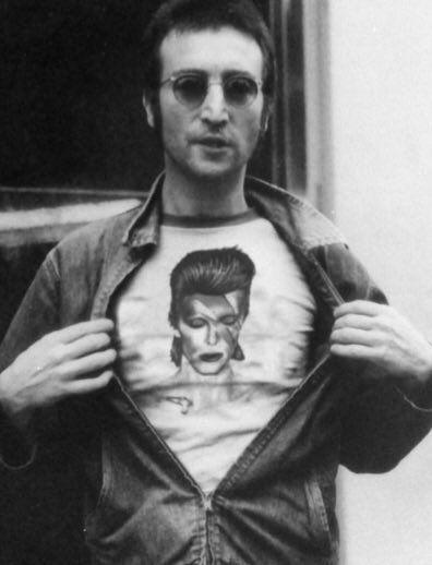 John Lennon wearing David Bowie T shirt.