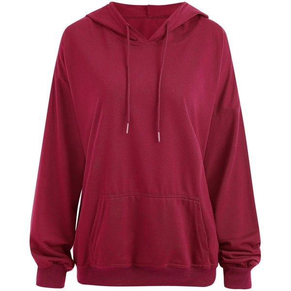 Deep Red XL Plus Size Drop Shoulder Plain Hoodie with Pocket ($15) ❤ liked on ... 11