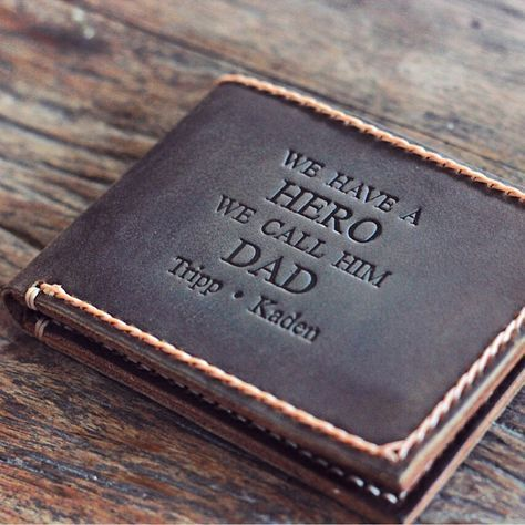 This handmade leather JooJoobs wallet was a custom order request. We can replicate it, just message us. We have a HERO We call him Dad. Super cool gift idea for father's day.