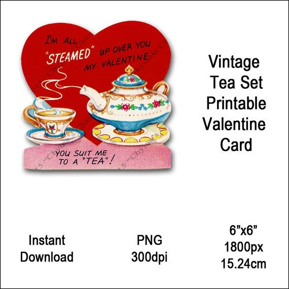 Vintage Tea Set Valentine Card Victorian Valentine's Printable Tea Cup Kettle Clipart Card Instant Download Digital Clip Art Image Vin0008