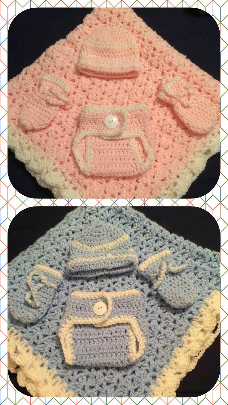 Newborn baby sets blue and pink diaper cover mittens beanie and blanket.