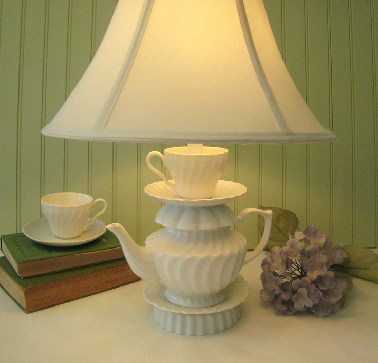 White Teapot Lamp Swirled Pattern Tea Cup and by ThistleandJug
