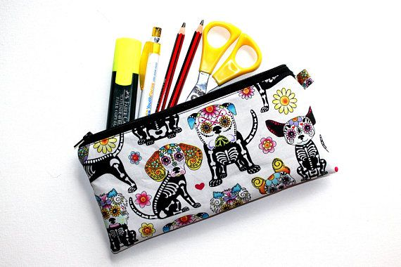 Pencil Case Pouch in Skeleton Dog Fabric