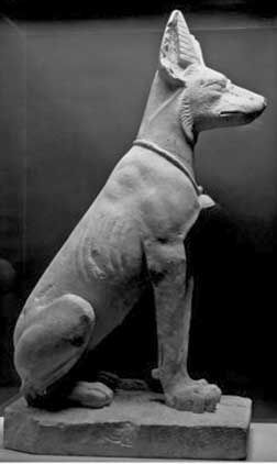 Left, a statue of a Dog from Mesopotamia, circa 5000-1000 BC. Note how like the god, Anubis, below, from Egypt, this dog is. It shows how th...
