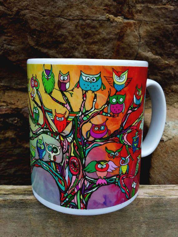 Owls in Tree's Mug  Pagan Boho MysticalOwl