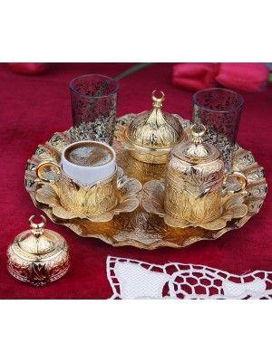Osmanlı Motifli Lalezar 2 Kişilik Yuvarlak Tepsili Kahve Fincanı Seti - Altın Sarı