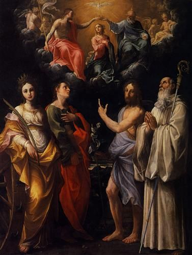 Coronation of the Virgin with St. Catherine of Alexandria, St. John the Evangelist, St. John the Baptist - Guido Reni