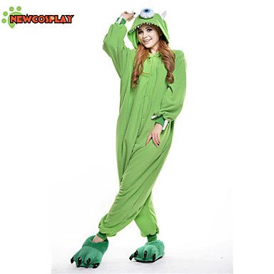 New Cosplay® Michael Wazowski Polar Fleece Adult Kigurumi Pajama(without Shoes) – USD $ 23.99
