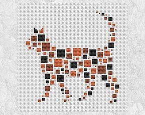 Geometric cat cross stitch pattern simple modern quick and