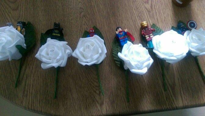 Superhero button holes for groomsmen