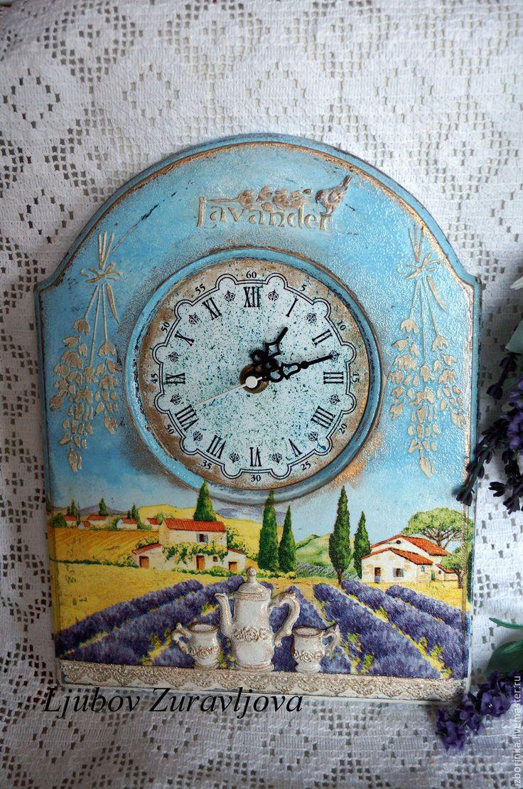 Купить Часы ,,Уторо Прованса,, - часы, Декупаж, часы настенные, часы кухонные…