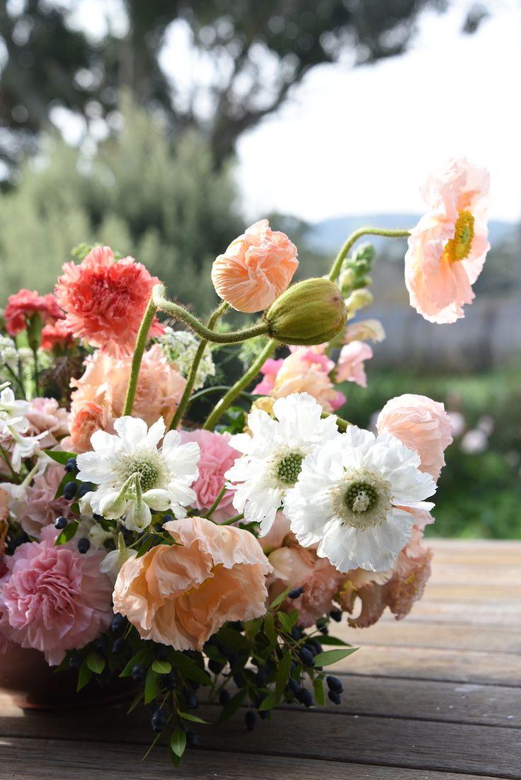 poppies, scabiosa, snapdragon, carnation, peach, white