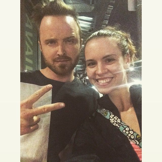 6.13.2015 My walk home from work at 2 am was epic. Ran into Aaron Paul and even after I called him Jesse he agreed to a selfie. . #breakingbad #aaronpaul