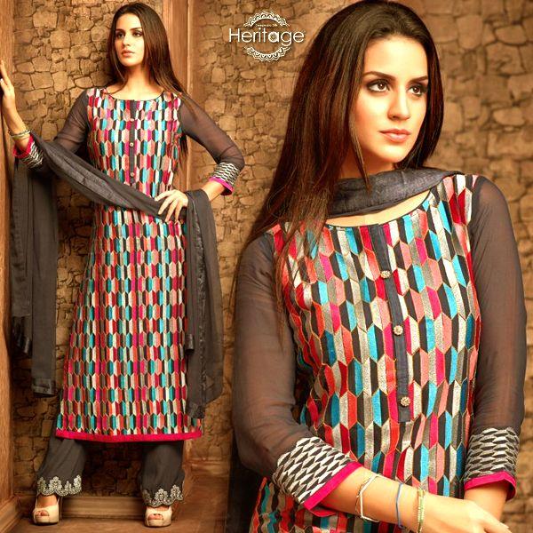Greyish Blue Georgette Embroidered Unstitched Salwar Kameez