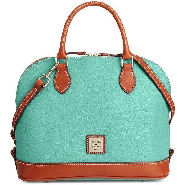 Dooney & Bourke Pebble Zip Zip Satchel ($198) ❤ liked on Polyvore featuring bags, handbags, mint, blue handbags, zip zip satchel, mint purse, dome satchel purse and blue satchel handbags