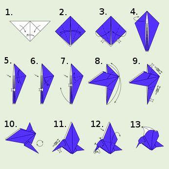 Origami Vogel falten