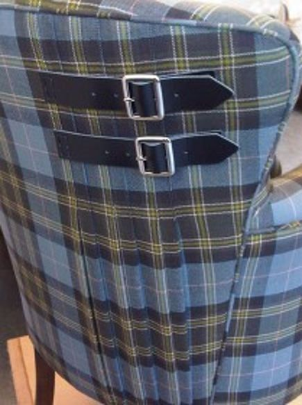 The buckles are genius... loves it. Sarah Whyberd's blue tartan quilt motif chair